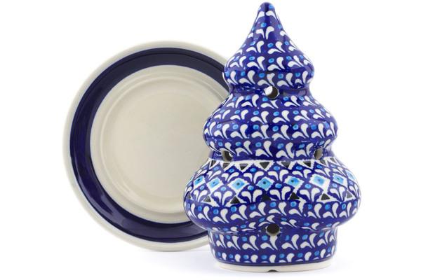 "Polish Pottery Christmas Tree Candle Holder 7"" Blue"