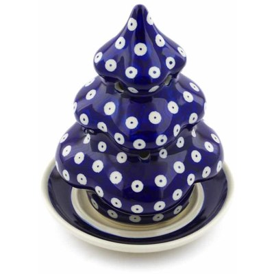"Polish Pottery Christmas Tree Candle Holder 7"" Blue Eyes"