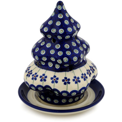 "Polish Pottery Christmas Tree Candle Holder 7"" Flowering Peacock"
