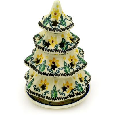 "Polish Pottery Christmas Tree Candle Holder 7"" Morning Blossoms"