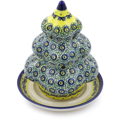 "Polish Pottery Christmas Tree Candle Holder 7"" Peacock Bumble Bee"