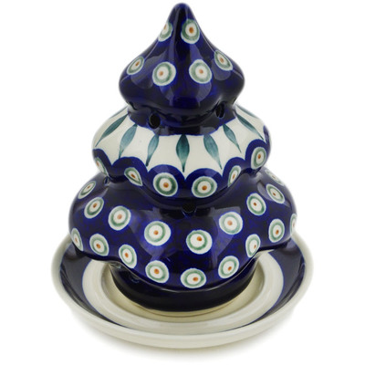 "Polish Pottery Christmas Tree Candle Holder 7"" Peacock Leaves"