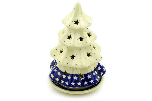 "Polish Pottery Christmas Tree Candle Holder 8"" American Stars"