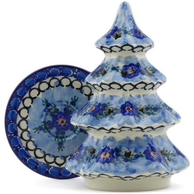 "Polish Pottery Christmas Tree Candle Holder 8"" Blue Delight UNIKAT"