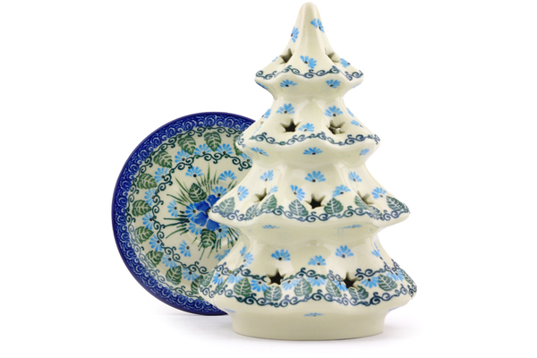 Christmas Tree Candle Holder.Polish Pottery Christmas Tree Candle Holder 8 Forget Me Not