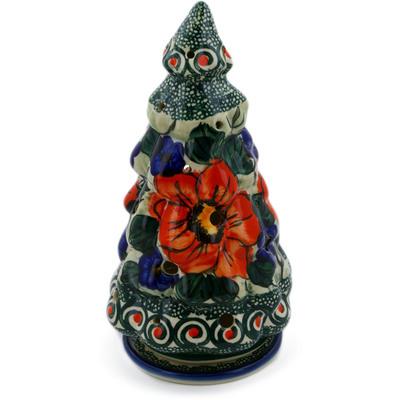 "Polish Pottery Christmas Tree Candle Holder 8"" Havana UNIKAT"