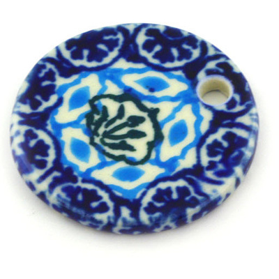 "Polish Pottery Circle Pendant 1"" Aztec Eyes"