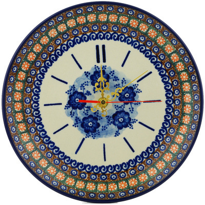"Polish Pottery Clock 10"" Dancing Blue Poppies UNIKAT"