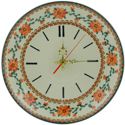 "Polish Pottery Clock 10"" Lancaster Rose"