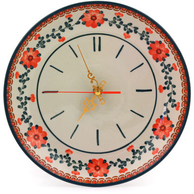 "Polish Pottery Clock 10"" Orange Poppies"