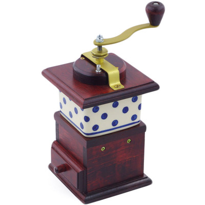 "Polish Pottery Coffee Grinder 8"" Blue Dots"