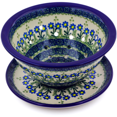 "Polish Pottery Colander with Plate 8"" Blue Daisy Circle"