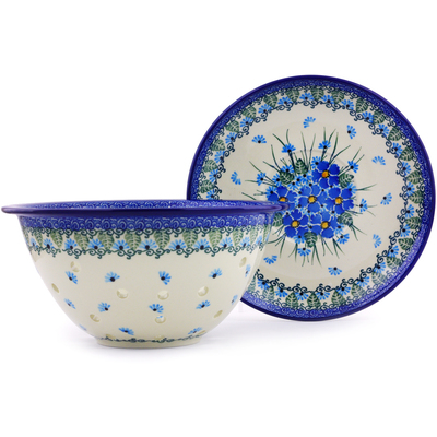 "Polish Pottery Colander with Plate 8"" Forget Me Not"