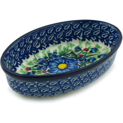 "Polish Pottery Condiment Dish 6"" Blue Bud Delight UNIKAT"