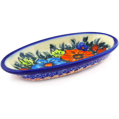 "Polish Pottery Condiment Dish 6"" Butterfly Splendor UNIKAT"