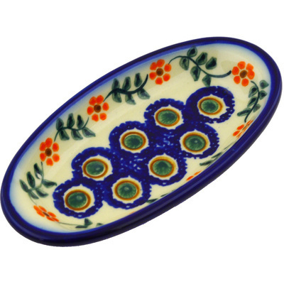 "Polish Pottery Condiment Dish 6"" Sunflower Peacock"