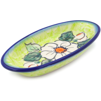 "Polish Pottery Condiment Dish 6"" White Flower Bouquet UNIKAT"