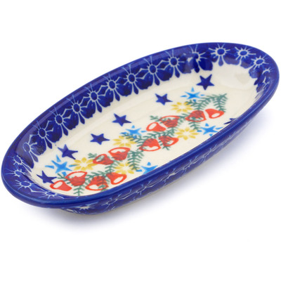 "Polish Pottery Condiment Dish 6"" Wreath Of Bealls"