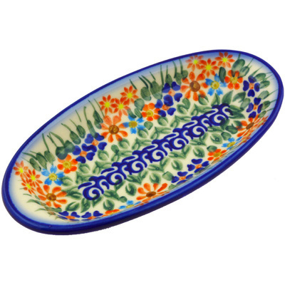"Polish Pottery Condiment Dish 7"" Blissful Daisy"