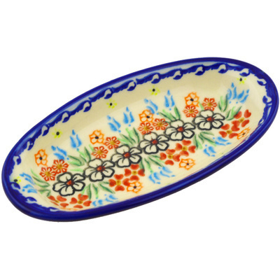 "Polish Pottery Condiment Dish 7"" Fanciful Ladybug"