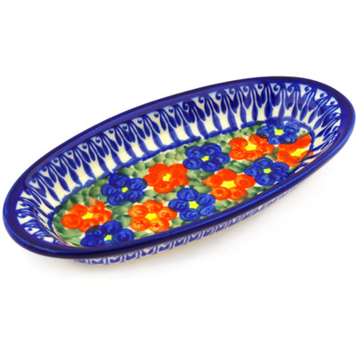 "Polish Pottery Condiment Dish 7"" Floral Burst"