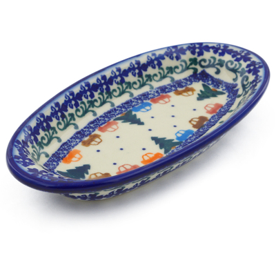 "Polish Pottery Condiment Dish 7"" Holiday Drive"