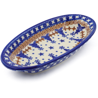 "Polish Pottery Condiment Dish 7"" Winter Snow"