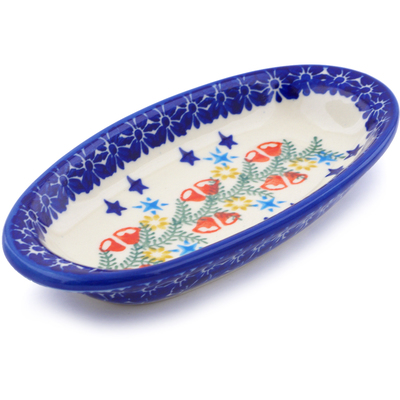 "Polish Pottery Condiment Dish 7"" Wreath Of Bealls"
