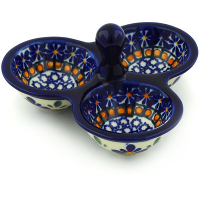 "Polish Pottery Condiment Server 5"" Gangham Flower Chain"