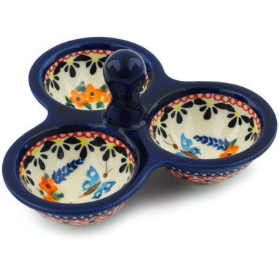 "Polish Pottery Condiment Server 5"" Spring Splendor UNIKAT"