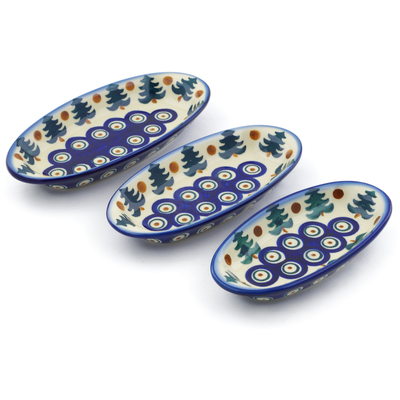 Polish Pottery Condiment set of 3 nesting dishes: 7¼-inch, 6½-inch, 5¾-inch Autumn Evergreen