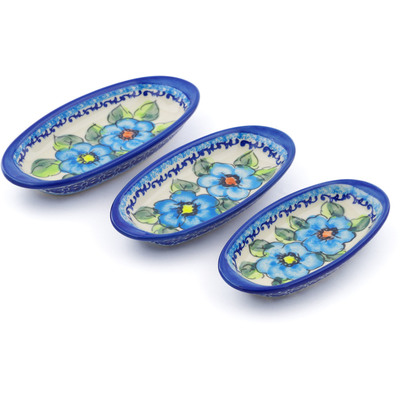 Polish Pottery Condiment set of 3 nesting dishes: 7¼-inch, 6½-inch, 5¾-inch Bold Blue Poppies UNIKAT