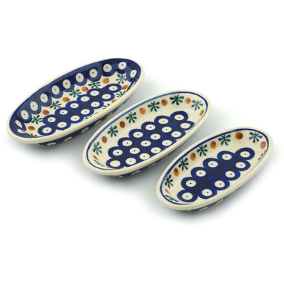 Polish Pottery Condiment set of 3 nesting dishes: 7¼-inch, 6½-inch, 5¾-inch Mosquito