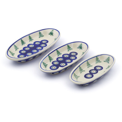 Polish Pottery Condiment set of 3 nesting dishes: 7¼-inch, 6½-inch, 5¾-inch Peacock Pines