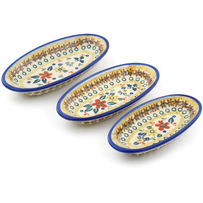 Polish Pottery Condiment set of 3 nesting dishes: 7¼-inch, 6½-inch, 5¾-inch Red Anemone Meadow UNIKAT
