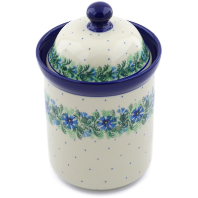 "Polish Pottery Cookie Jar 8"" Blue Bell Wreath"