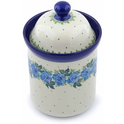 "Polish Pottery Cookie Jar 8"" Blue Garland"