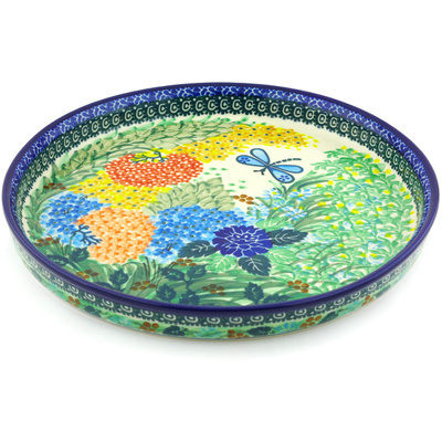 "Polish Pottery Cookie Platter 10"" Garden Delight UNIKAT"