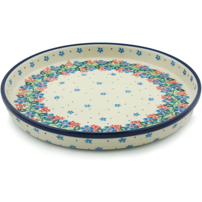 "Polish Pottery Cookie Platter 10"" Summer Wreath"