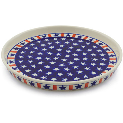 "Polish Pottery Cookie Platter 9"" Americana"