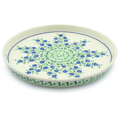 "Polish Pottery Cookie Platter 9"" Blue Dream"