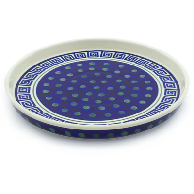 "Polish Pottery Cookie Platter 9"" Greek Key"