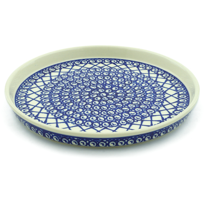 "Polish Pottery Cookie Platter 9"" Lattice Peacock"