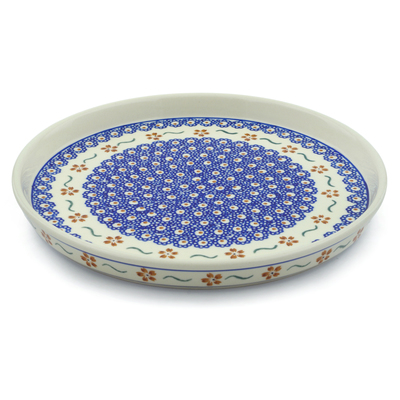 "Polish Pottery Cookie Platter 9"" Sweet Red Flower"