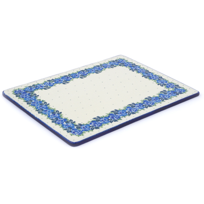"Polish Pottery Cookie Sheet 13"" Blue Garland"