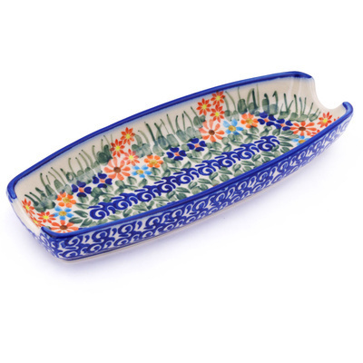 "Polish Pottery Corn Tray 9"" Blissful Daisy"
