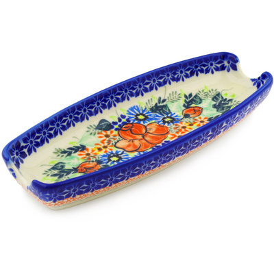 "Polish Pottery Corn Tray 9"" Bold Poppies UNIKAT"