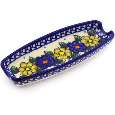 "Polish Pottery Corn Tray 9"" Pansy Circle UNIKAT"