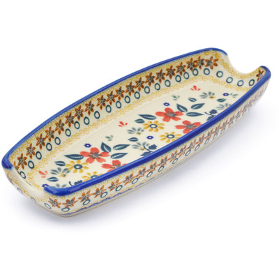 "Polish Pottery Corn Tray 9"" Red Anemone Meadow"