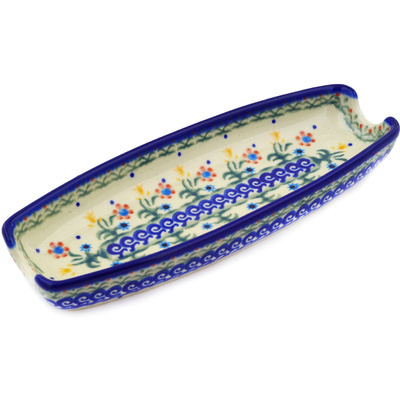"Polish Pottery Corn Tray 9"" Spring Flowers"